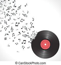 toile fond., isolated., résumé, objet, musique, vinyle, fond, vinyl., notes, musical
