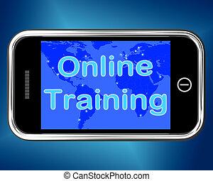 toile, formation, mobile, apprentissage, ligne, message, spectacles