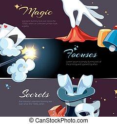 toile, gabarit, bannières, magicien, illsutrations