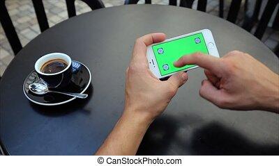 toile, horizontalement, écran, étiquettes, examen, téléphone, iphone, blanc vert, pages