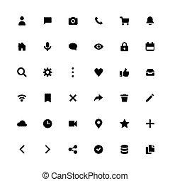 toile, icône, meute, vecteur, application