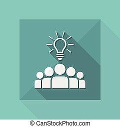 toile, -, idées, vecteur, collaboration, icône
