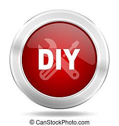 toile, mobile, app, illustration, métallique, conception, lustré, icône, bouton, rond, rouges, bricolage