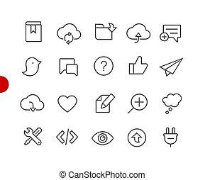 //, toile, &, mobile, série, icônes, point, 8, rouges