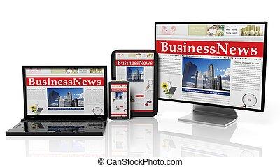toile, moniteur, concept., tablette, isolé, ordinateur portable, conception, white., sensible, smartphone