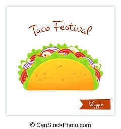 toile, nourriture, végétarien, tacos, traditionnel, frais, bannière