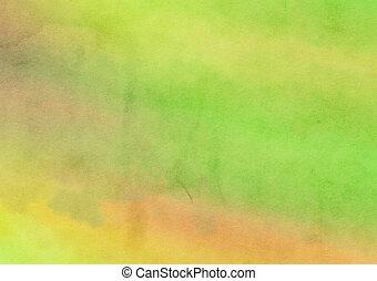 toile, peint, aquarelle, laver, arrière-plan vert