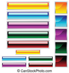 toile, scaleable, boutons, assorti, brillant, couleurs, carrés, rectangles