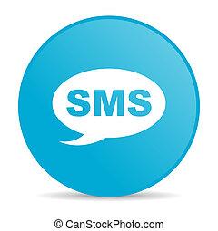 toile, sms, lustré, bleu, icône, cercle