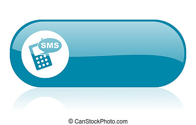 toile, sms, lustré, bleu, icône