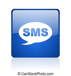 toile, sms, lustré, carré bleu, fond, icône, blanc