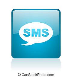 toile, sms, lustré, carré bleu, icône