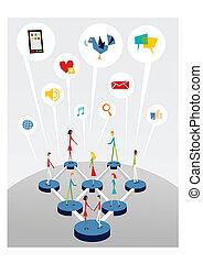 toile, social, gestion réseau, interactif