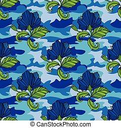toile, tropique, fleurs tropicales, ton, clothing., camouflage, seamless, camo, reprise, impression, fleur, vecteur, arrière-plan., vêtements, pattern., illustration., conception