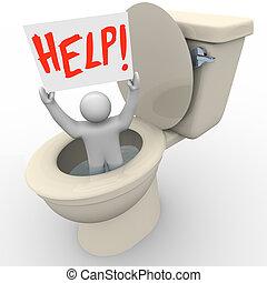 toilette, aide, urgence, -, signe, collé, sos, tenue, homme