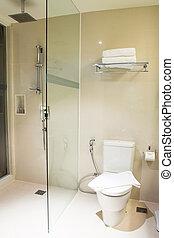 toilette, blanc, salle bains