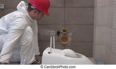 toilette, plombier, monter, bol, salle bains, préparer, professionnel, nouveau, moule, homme