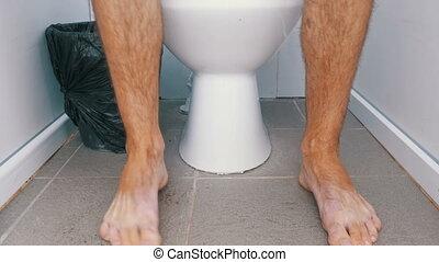 toilette, redresser, stand, jambes, public, homme