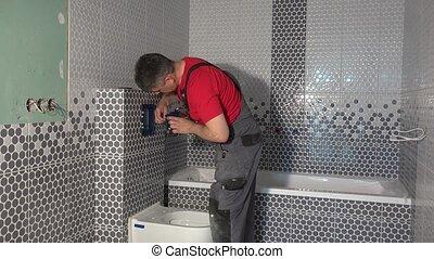 toilette, salle bains, appartement, monter, plombier, eau, purger, nouveau, bouton, homme