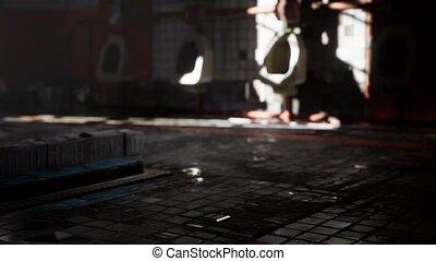 toilette, vieux, clair, public, abantoned, lumières