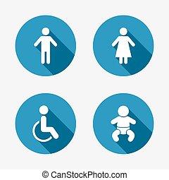 toilette, wc, femme, icons., humain, mâle, ou, signs.