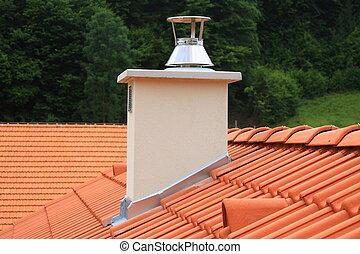 toit, cheminée