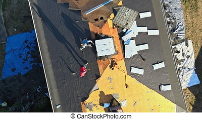 toit, installed, ouvrier, nouveau, construction, rénovation, maison, zona