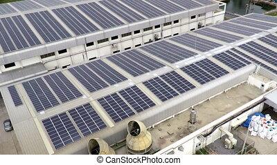toit, métrage, panneaux, aérien, solaire