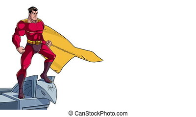 toit, regarder, superhero