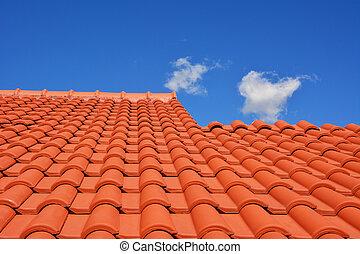 toit, rouges, carreau, texture