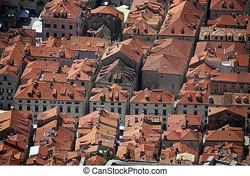 toits, dubrovnik, rouges