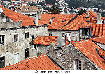 toits, rouges, dubrovnik