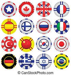 tokens, casino, drapeaux