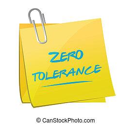 tolérance, zéro, conception, note, illustration
