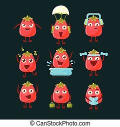 tomate, caractère, dessin animé, collection