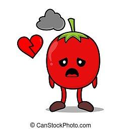 tomate, cassé, coeur rouge, dessin animé