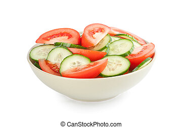 tomate, concombre, salade