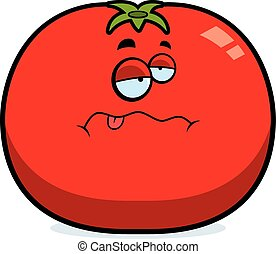 tomate, dessin animé, malade