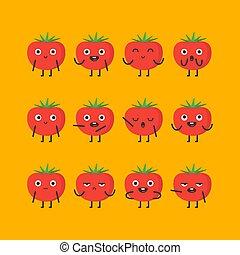 tomate, différent, ensemble, caractère, émotions, options