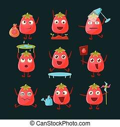 tomate, ensemble, caractère, dessin animé