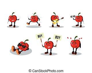 tomate, ensemble, dessin animé, homme