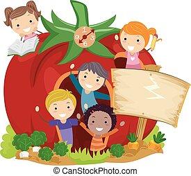 tomate, gosses école, stickman, jardin, illustration