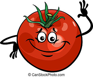 tomate, mignon, légume, dessin animé, illustration