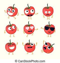 tomate, rigolote, emoticons, -, isolé, vecteur, dessin animé