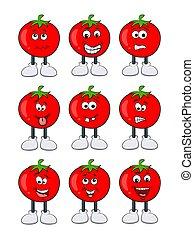 tomate, rigolote, ensemble, caractère, isolé, conception, fond, blanc, dessin animé