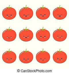 tomate, rigolote, ensemble, emoticons., mignon, character., -, isolé, kawaii, vecteur, légume, emoji, dessin animé, gentil
