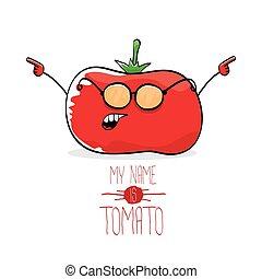 tomate, rigolote, mignon, isolé, vecteur, dessin animé, rouges