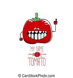 tomate, rigolote, mignon, vecteur, dessin animé, rouges