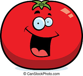 tomate, sourire, dessin animé