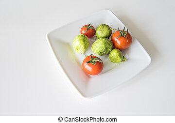 tomate, vert, gros plan, blanc rouge, pousses, bruxelles, plaque, juteux, mûre